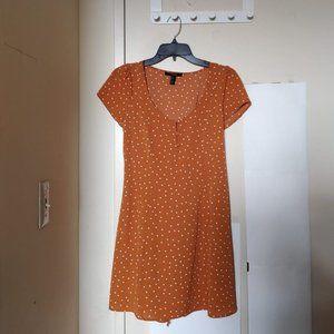 NWOT Forever 21 Mustard Yellow Polka Dot Dress